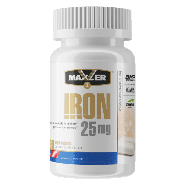 Maxler Железа (Iron 25) mg Bisglycinate Chelate 90 капсул