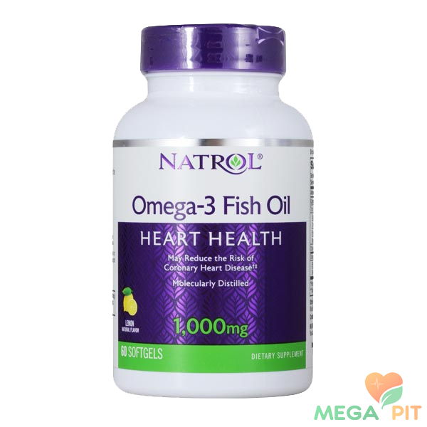 Natrol Omega-3 Fish Oil, Lemon 1000 мг (60 капсул)